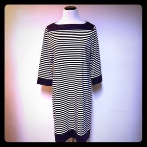 TIANA B. Dress Black/White Striped Plus Sz 16